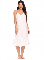 White Women V-Neck Spaghetti Strap Ruffles Solid Sleep Dress