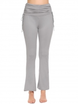 Gray Women Casual High Waist Drawstring Ruched Flare Yoga Pants