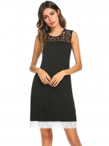Black Women O Neck Short Sleeve Hollow Out Lace Patchwork Loose Sleep Dress Sleepwear