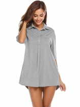 Gray Womens Turn Down Collar Short Sleeve Pleated Sleepshirt Nightgown Lounge Dress