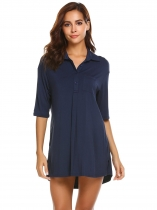 Navy blue Womens Turn Down Collar Short Sleeve Pleated Sleepshirt Nightgown Lounge Dress