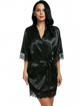Black Satin Kimono Style Loose 3/4 Sleeve Lace-trimmed Robe