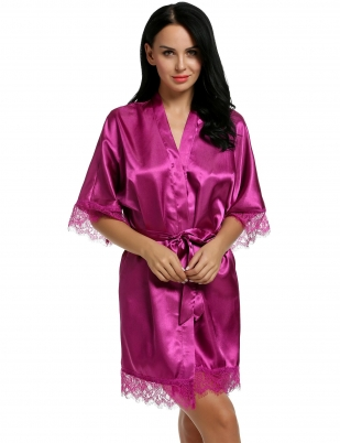e775f6282f Purple Satin Kimono Style Loose 3 4 Sleeve Lace-trimmed Robe