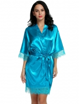 Navy blue Satin Kimono Style Loose 3/4 Sleeve Lace-trimmed Robe