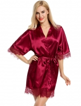 Wine red Satin Kimono Style Loose 3/4 Sleeve Lace-trimmed Robe