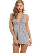 Gray Women Sexy Dress Babydoll Halter Lace Nightwear with G-string Lingerie Sets