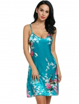 Lake blue Printed Sleeveless Adjustable Strap Slip Satin Lounge Dress Nightgown