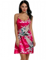 Rose red Printed Sleeveless Adjustable Strap Slip Satin Lounge Dress Nightgown