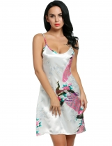 White Printed Sleeveless Adjustable Strap Slip Satin Lounge Dress Nightgown