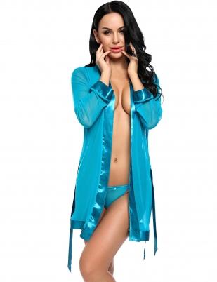 82e87edc4f Blue Long Sleeve Sheer Mesh Satin Patchwork Nightwear Robe with G-string