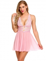 1279fa711e Pink Sheer Babydoll Set Lace Patchwork Lingerie with G-string