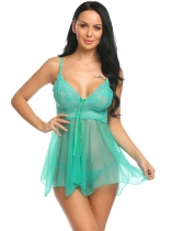 Vert Women Sexy Lingerie Sheer Mesh and Lace Babydoll Set