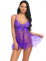 Fioletowy Women Sexy Lingerie Sheer Mesh and Lace Babydoll Set