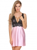 Pink Sleeveless V-Neck Babydoll Satin Chemise with G-String