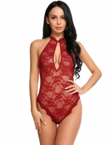 Dark red Halter Keyhole Hollow Lace One Piece Lingerie Bodysuit