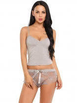 Gris Set de lencería mujer Sheer Lace Patchwork Cami Top y Shorts Pijamas