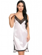 White Satin Split Lace Trim Backless Nightgown Sleepwear