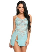 Blue Spaghetti Strap Floral Lace Patchwork Split Hem Nightgown