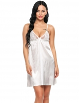 White Satin Spaghetti Strap Embroidery Patchwork Sexy Nightgown