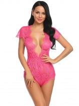 Rose red Body Sexy Lingerie Femme Plongeant Teddy Combi short