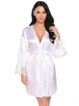 White Women Casual V-Neck Long Sleeve Lace Satin Patchwork Sexy Nightgown Robe with Belt