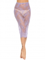 Light purple Transparent Lace High Waist Midi Lingerie Skirt