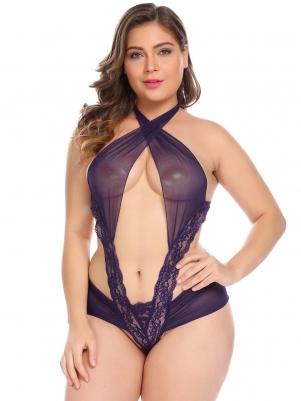 75c35a6ad2 Purple Women Plus Size Sexy One Piece Lingerie Bodysuit Cross Halter Sheer Teddy  Nightwear