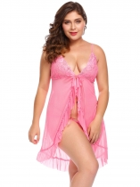 Pink Women Plus Size Sexy Lingerie Flyaway Ruffled Babydoll Open Front Sexy Lingerie
