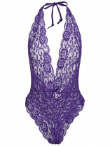 Purple Women Sexy Halter Lace Transparent Mesh Lingerie Nuit Bodysuit