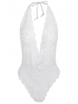 White Women Sexy Halter Lace Transparent Mesh Lingerie Night Bodysuit