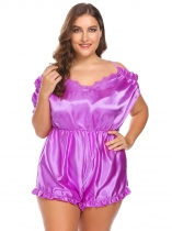 Purple Women Sexy Lingerie V-Neck Ruffles Trim Satin One Piece Bodysuit Plus Size