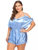 Light blue Women Sexy Lingerie V-Neck Ruffles Trim Satin One Piece Bodysuit Plus Size