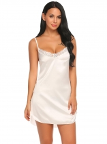 White Women Sexy Satin Chemise Slip Nightgown Sexy Lingerie with G-String