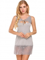 Gray Sexy Lingerie Mini Babydoll Cut-out Sheer Lace Nightwear