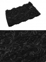 Czarny Women Floral Lace Elastic Anti-Chafing Thigh Bands