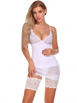White Femmes Floral Lace Elastic Anti Chafing Cuisse Bandes