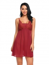Wine red Lace-trimmed Chiffon Transparent Dress with G-String Sexy Lingerie Sets