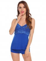 Blue Sleeveless Pajamas Lace Patchwork Neck Backless Nightwear Sleepwear