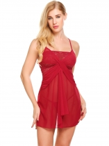 Wine red Women Lace Patchwork Sexy Spaghetti Strap Chemise G-string Lingerie