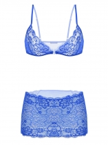 Blue Sheer Lace Mesh Bra with Mini Skirt Lingerie Set