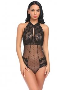 0f825453c1 Black Women Sexy One Piece Lingerie Bodysuit Halter Lace Teddy Nightwear