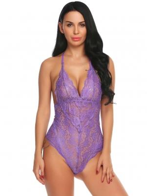 Light purple Lingerie V-Neck Lace Bodysuit 93d9a4a6c