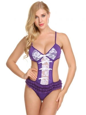 Purple Women Sexy Lingerie Spaghetti Strap Backless Cut Out One Piece  Bodysuit afff3cdbf
