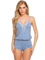 Light blue Women Sexy Lingerie Spaghetti Strap Lace Trim V Neck Romper Vêtements de nuit