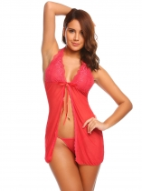 Red Women Sexy Lingerie Halter Lace Up Front Backless Babydoll Chemise Vêtements de nuit