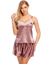Coffee Ensemble Femme Satin Cami Pyjama à la dentelle de pyjamas
