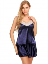 Navy blue Women Satin Cami Set Lace-Trimmed Pajamas Sleepwear