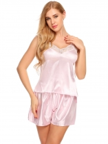 Pink Women Satin Cami Set Lace-Trimmed Pajamas Sleepwear