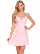 Pink Women Sexy Lingerie Babydoll Chemise Nightgown with G-String