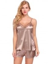 Coffee Women Satin Cami Set Lace-Trimmed Pajamas Set